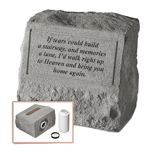Garden Stone Pet Urn Memorial: If tears could build a stairway...