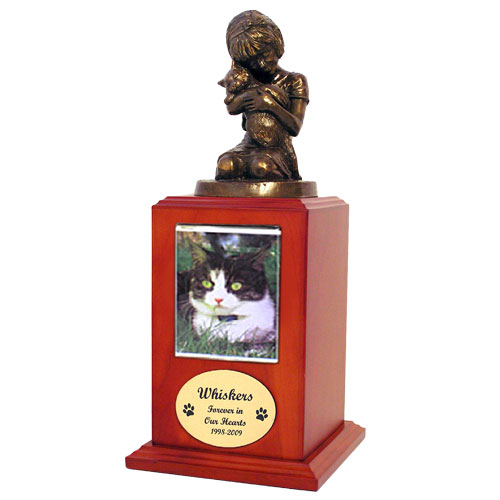"""Always My Kitty"" Cat Cremation Urn with Photo Holder: Cherry"