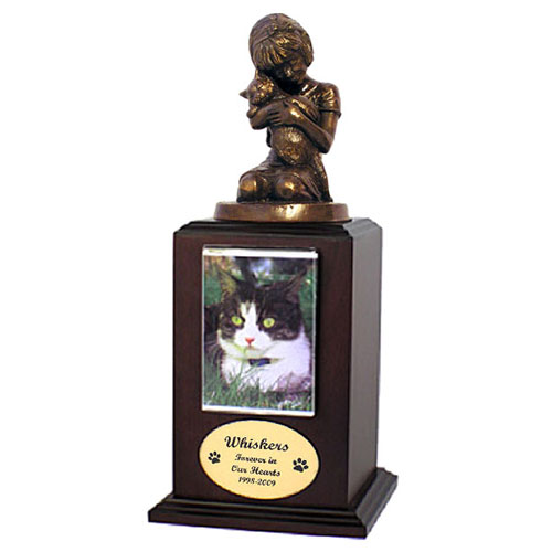 """Always My Kitty"" Cat Cremation Urn with Photo Holder: Walnut"