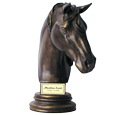 Horse Keepsake Urn shown with engraved name plate