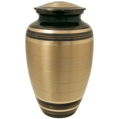 Large Dog Urn - Black and Brass Striped