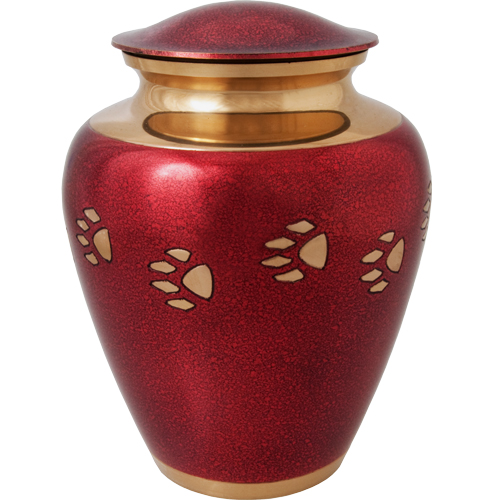 Brass Paw Print Pet Cremation Urn