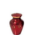 Pet Urn Keepsake Red with Gold Paw Prints