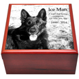 Front view of Cherry Finish Wood Photo Tile Dog Urn Box