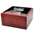 Side view of Cherry Finish Wood Photo Tile Cat Urn Box