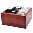 Side view of Cherry Finish Wood Photo Tile Dog Urn Box