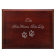 Clip art & text engraved on front of Cherry Finish Grooved Dog Urn