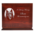 Cherry Finish Wood Slide Top Dog Urn shown engraved with pet photo & text