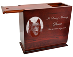 Large Dog Urns: Cherry Finish Wood Slide Top Urn