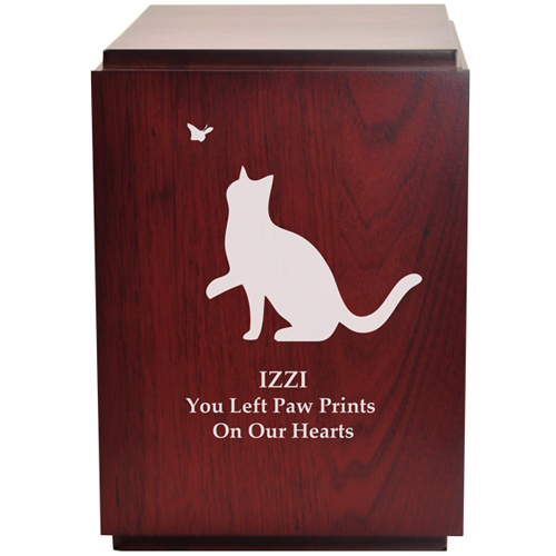 Wood engraving shown of Classic Cherry Finish Wood Cat Urn