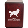 Wood engraving shown of Classic Cherry Finish Wood Dog Urn