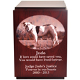 Classic Cherry Finish Wood Dog Urn shown with pet photo