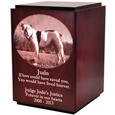 Side view of Classic Cherry Wood Photo Pet Urn shown