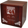 Large Dog Urns: Cherry Finish Wood Over-sized Urn- Cube