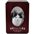 Cherry Finish Wood Cat Urn with Oval Photo Frame shown with wood engraving