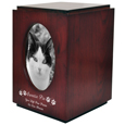 Cherry Finish Wood Cat Urn with Oval Photo Frame shown with b&w photo
