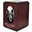 Cherry Finish Wood Dog Urn with Oval Photo Frame shown with b&w photo