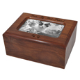 Memory Chest Wooden Box Cat Urn with Photo Window engraved into wood