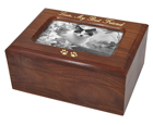 Memory Chest Wooden Box Cat Urn with Photo Window shown with gold fill