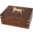 Perfect Wooden Box Urn Your Dog's Silhouette shown with gold fill