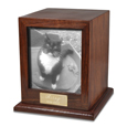 Elegant Photo Wood Cat Urn shown with b&w photo