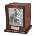 Elegant Photo Wood Dog Urn shown with metal photo plaque of pet dog