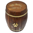 Gold filled engraving shown on Paw Print Wood Barrel Pet Urn