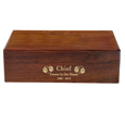 Engravable Dog Wood Hinged Pet Urn show with gold filled engraving