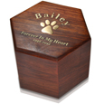 Gold filled engraving shown on Paw Print Hexagon Wood Pet Urn