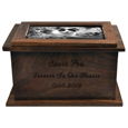 Front view of Photo Wood Pet Urn engraved and with b&w photo