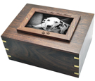 Photo Wood Pet Urn shown with b&w photo of pet dog