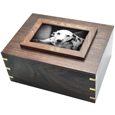 Perfect Wooden Box Photo Frame Dog Urn XLarge shown with gold fill