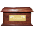 Stately Wood Pet Urn- Large with large engraved plaque