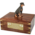 Doberman Pinscher Red Sitting Figurine Wooden Urn