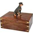 Doberman Pinscher Red Sitting Figurine Wood Urn shown with no engraving
