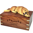 Wood engraving shown on front of Golden Retriever -Laying urn