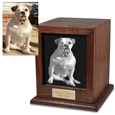 Customer sample of personalized  Elegant Photo Wood Dog Urn