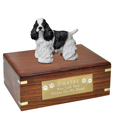 Pet Urns: Cocker Spaniel Black & White Figurine Wood Urn