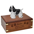 Wood engraving shown on front of Cocker Spaniel Black Figurine Wood Urn