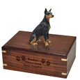 Wood engraving shown on front of Black Doberman Pinscher Figurine Wood Urn