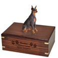 Wood engraving shown on front of Doberman Pinscher Red Figurine Wood Urn