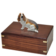 Urn shown with Basset Hound dog figure only; no plaque or engraving