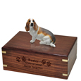 Wood engraving shown on front of Basset Hound urn