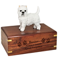 Wood engraving shown on front of West Highland Terrier Figurine Wood Urn