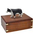 Urn shown with Border Collie Black dog figure only; no plaque or engraving