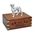Wood engraving shown on front of Dalmatian Figurine Wood Urn