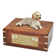 Labradoodle Cream Figurine Wood Urn