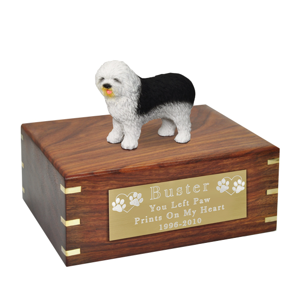 Pet Urns- Old English Sheepdog Figurine Wood Urn