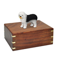 Urn shown with Old English Sheepdog dog figurine