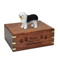 Wood engraving shown on front of Old English Sheepdog Figurine Wood Urn